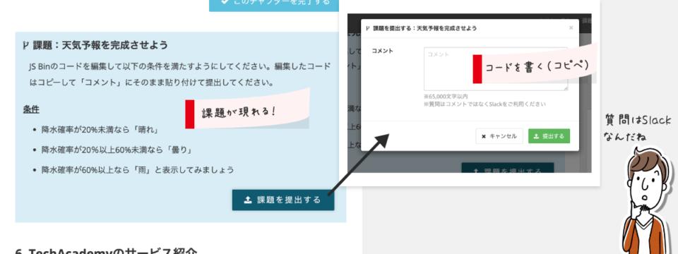 同じくドキュメントの途中に「課題を提出する」ボタンがある。これをクリックしてコードを入力する。無料体験では「JS Bin」というJavascriptをウェブ上で書けるサービスを使って、それをコピペする形式になる。