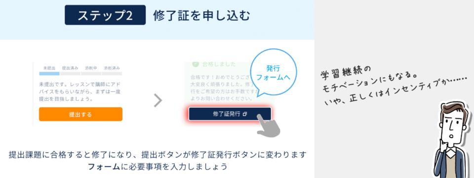 提出課題に合格すると課題ステータスが修了になり、提出ボタンが修了証発行ボタンに変わります。クリックすると発行フォームが表示されるので、簡単なフォーム入力を行います。